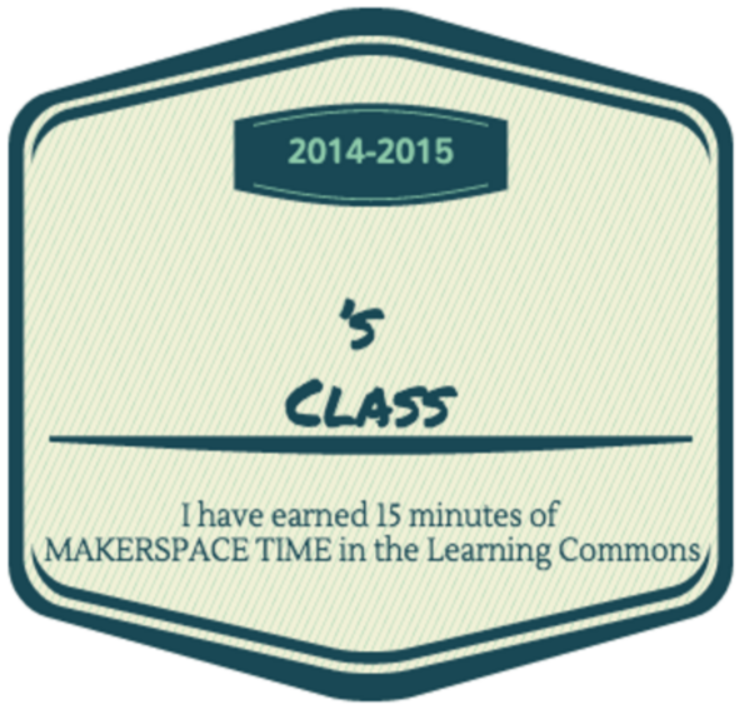 Makerspace time earned