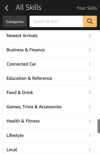 Alexa app category screenshot