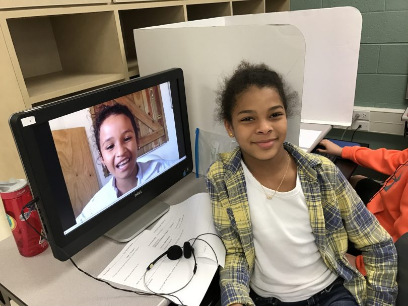 Student fostering global connections with her partner