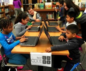 Students engaging in Hour of Code
