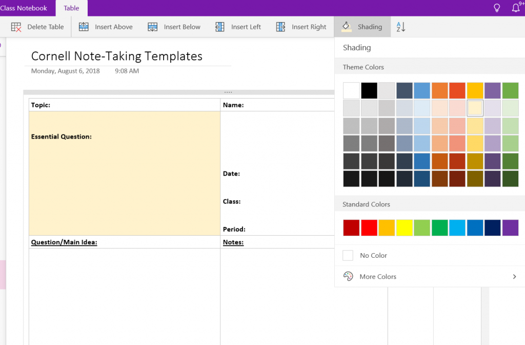 Want To Add A Shade Of Color An Individual Table Cell Click In The You Then Go Tab Your Onenote