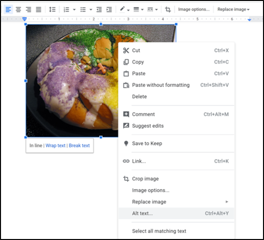 Image of how to add alt text to an image in Google Docs.