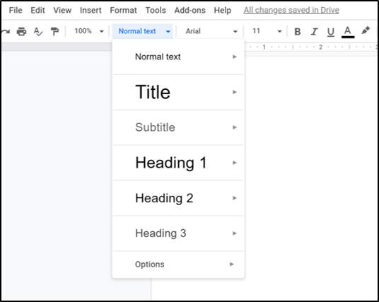 Image of how to create a heading in Google Docs.