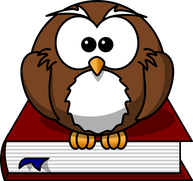 Cartoon image of owl and books