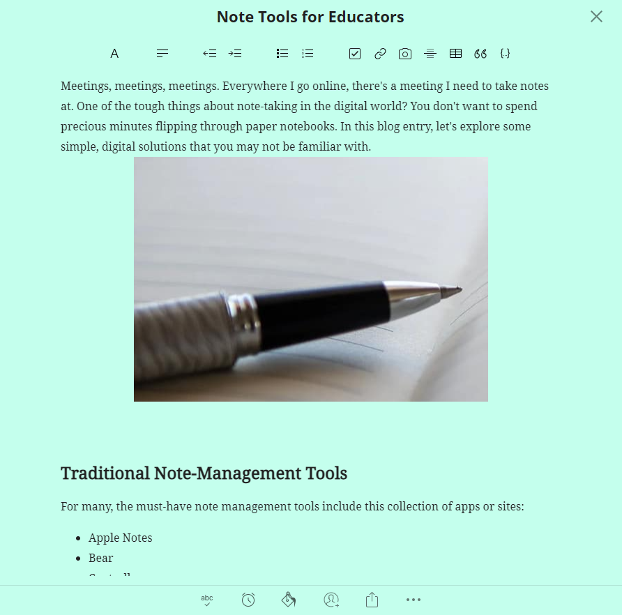 note tools