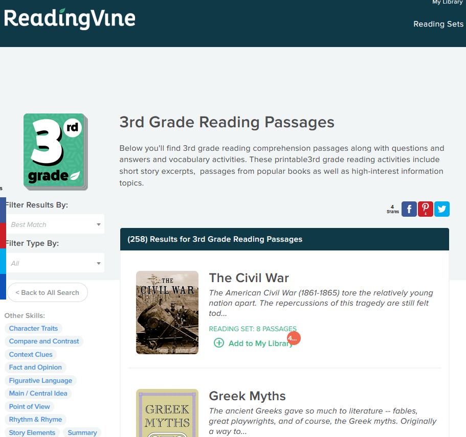 reading vine 3rd grade passages