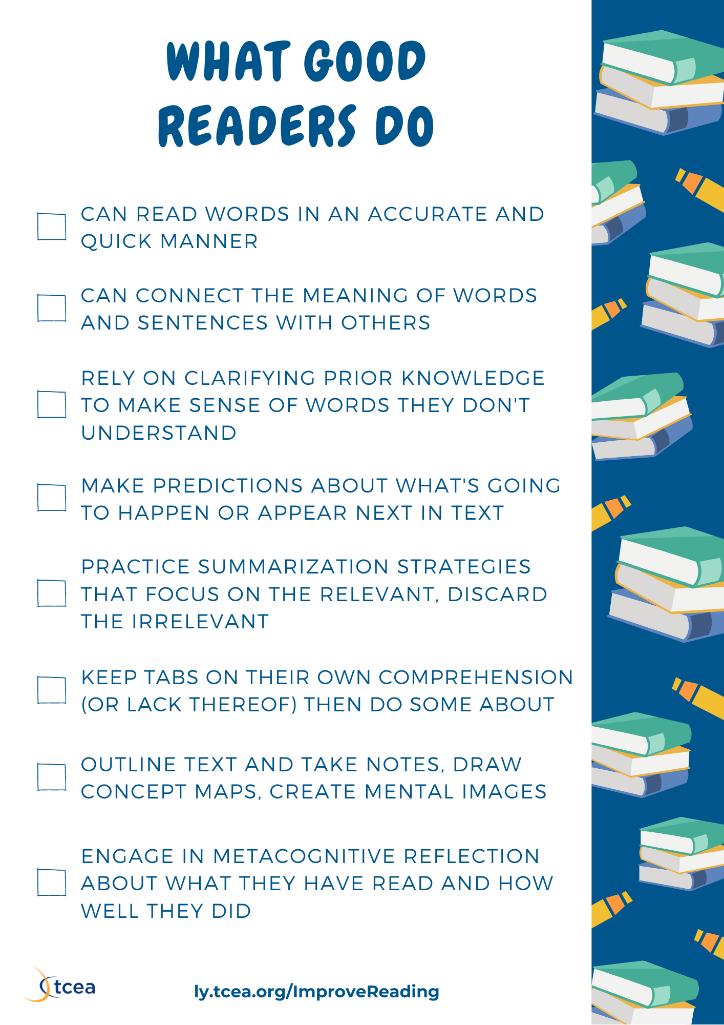 what good readers do checklist